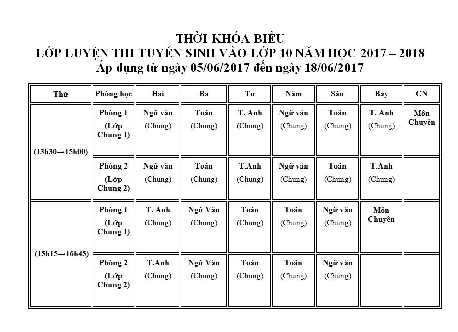 Cập nhật thời khóa biểu lớp luyện thi tuyển sinh vào lớp 10 tuần 2 và 3